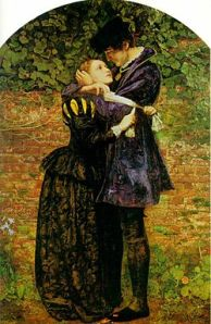 """""""A Huguenot, on St. Bartholomew's Day, Refusing to Shield Himself from Danger by Wearing the Roman Catholic Badge"""", an 1852 painting by John Everett Millais."""