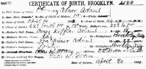 Birth certificate of Abner Chauncey Adams, 1888. Note errors in his and his father's names.