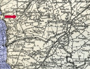 "Risgård can be seen on this map from 1921. Note also the tiny village of Risby at top center; literally: ""Riis village"""