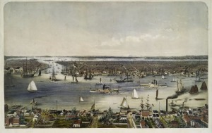 Manhattan as seen from Williamsburgh (foreground), 1848. Brooklyn is at left.