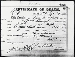 Death certificate: Henrietta Adams, 1865