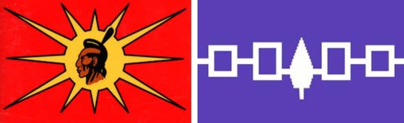 Modern flag of the Mohawk Nation (left) and the flag of the Iroquois League of Five Nations (right)