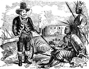 A 17th century Dutch settler dealing with Esopus Indians